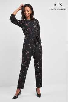 Armani Exchange Black Printed Jumpsuit