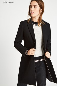 Jack Wills Black Chelsea Wool Blend Overcoat