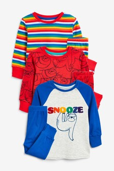 3 Pack Sloth Snuggle Pyjamas (9mths-8yrs)