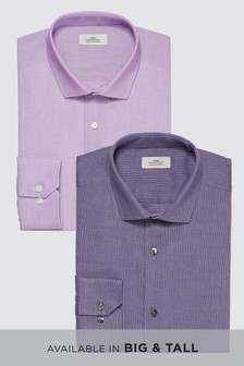 Textured Slim Fit Shirts Two Pack