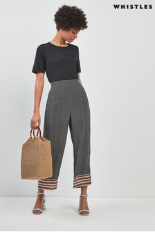 Whistles Black Foulard Stripe Print Trouser