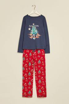 FatFace Blue Rosie Robin Pyjama Set