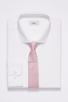 Shirt With Pink Tie And Tie Clip