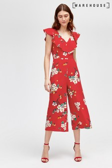 Warehouse Red Blossom Print Jumpsuit