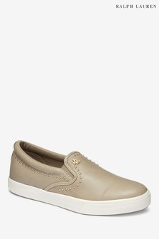 Ralph Lauren Nude Leather Slip-On Pump
