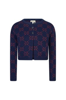 Girls Navy GG Cardigan