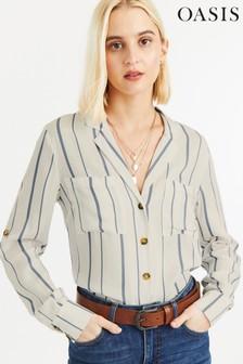 Oasis Blue Viscose Linea Stripe Shirt