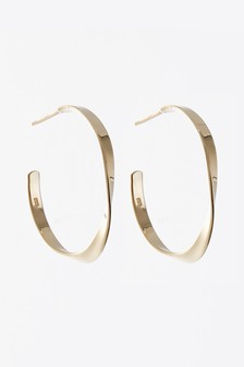 18 Carat Gold Plated Medium Organic Hoop Earrings