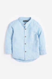 Grandad Neckline Linen Blend Shirt (3mths-7yrs)