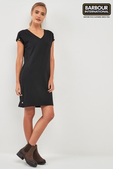 Barbour® International Black V-Neck T-Shirt Dress