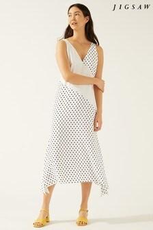 Jigsaw Crème Mixed Spot Maxi Dress