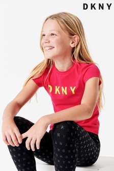 DKNY Pink Logo Slogan Tee With Yellow Finishing