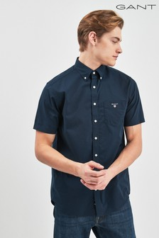 GANT Broadcloth Navy Short Sleeved Shirt