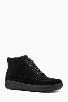 FitFlop™ Black Shearling Stefanie High Top Sneaker