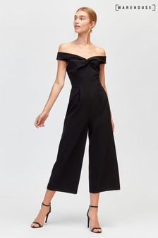 Warehouse Black Bardot Jumpsuit