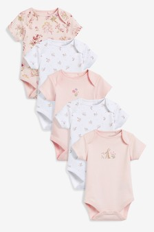 5 Pack Floral Embroidered Short Sleeve Bodysuits (0mths-2yrs)