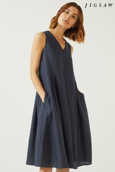 Jigsaw Blue Pleated Linen Dress
