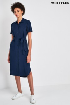 Whistles Navy Montana Longline Shirt Dress