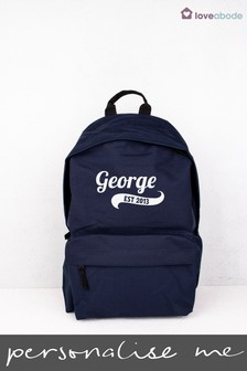 Personalised Navy Established Backpack by Loveabode