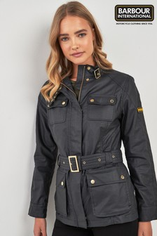 Barbour® International Black Waxed Cotton Belted Bearings Jacket