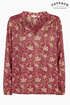 FatFace Red Elle Stitch Work Floral Blouse