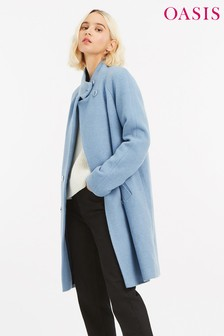 Oasis Mid Blue Ash Funnel Neck Coat