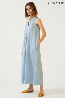 Jigsaw Blue Linen Maxi Dress