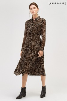 Warehouse Leopard Print Midi Dress