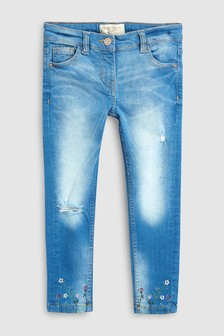 Embroidered Hem Skinny Jeans (3-16yrs)