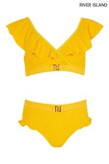 River Island Yellow Frill Triangle Bikini