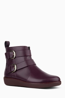 FitFlop™ Burgundy Double Buckle Lola Ankle Boot