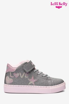 Lelli Kelly Silver Glitter High Top Trainers