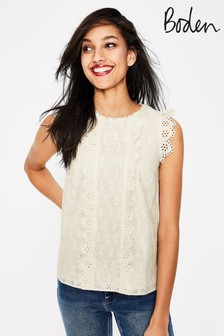 Boden White Hallie Broderie Top