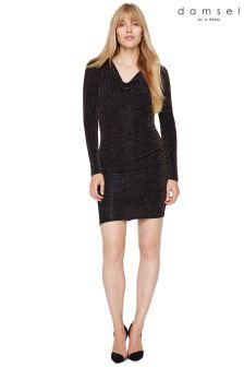 Damsel In A Dress Black Dasia Shimmer Jersey Dress