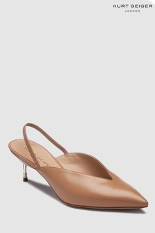 Kurt Geiger Camel Leather Battersea Heel Slingback