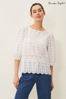 Phase Eight White Tameka Broderie Anglaise Top