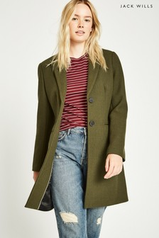 Jack Wills Khaki Chelsea Wool Blend Overcoat
