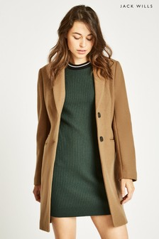 Jack Wills Camel Chelsea Wool Blend Overcoat