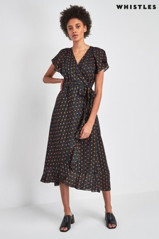 Whistles Scattered Leaf Wrap Dress