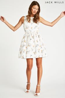 Jack Wills White Mazza Twist Back Fit And Flare Dress