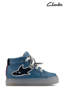 Clarks Mid Blue Leather Flare Scale Hi T Boots