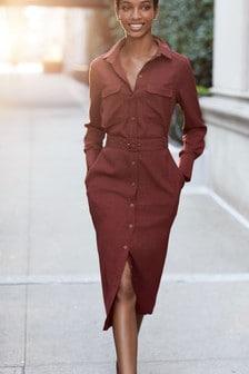 Платье-рубашка миди