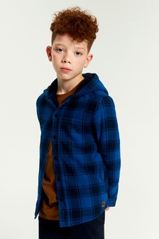 Check Hooded Borg Lined Shacket (3-16yrs)