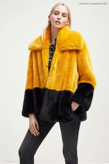 French Connection Yellow Colourblock Coat