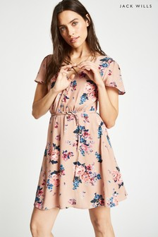Jack Wills Nude Perwent Soft Printed Tea Dress