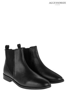 Accessorize Black Leather Chelsea Boot