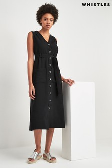 Whistles Black Button Sleeveless Tie Front Dress
