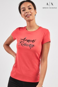Armani Exchange Pink Logo T-Shirt