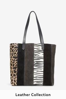 usnjena nakupovalna torba s spoji