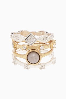 Mixed Stone And Sparkle Ring Pack